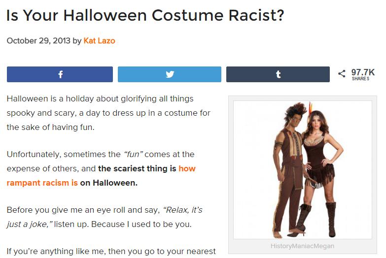 is your halloween costume racist
